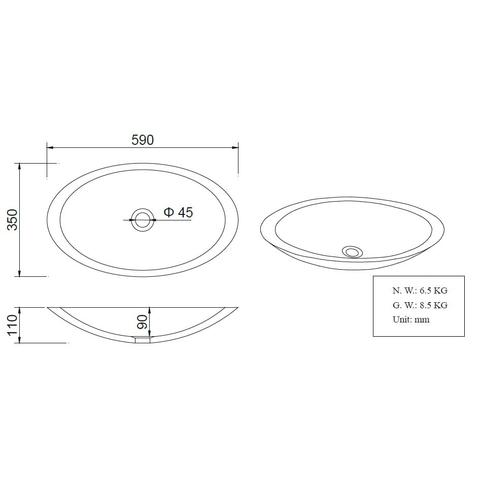 Wiesbaden Kim opzetwastafel ovaal Solid Surface 59x35cm