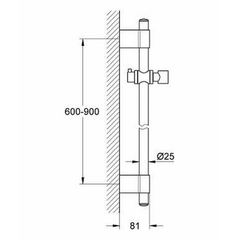 Grohe Relexa -2 glijstang 90 cm. chroom