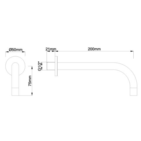 Wiesbaden Slim universele uitloop 20cm chroom