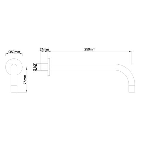 Wiesbaden Slim universele uitloop 25cm geborsteld staal