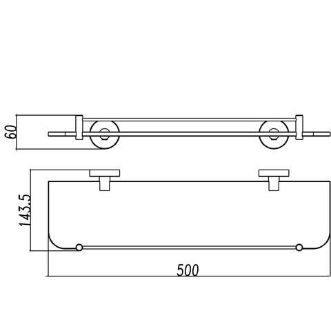 Wiesbaden Brush planchet glas met RVS 304 bevestiging