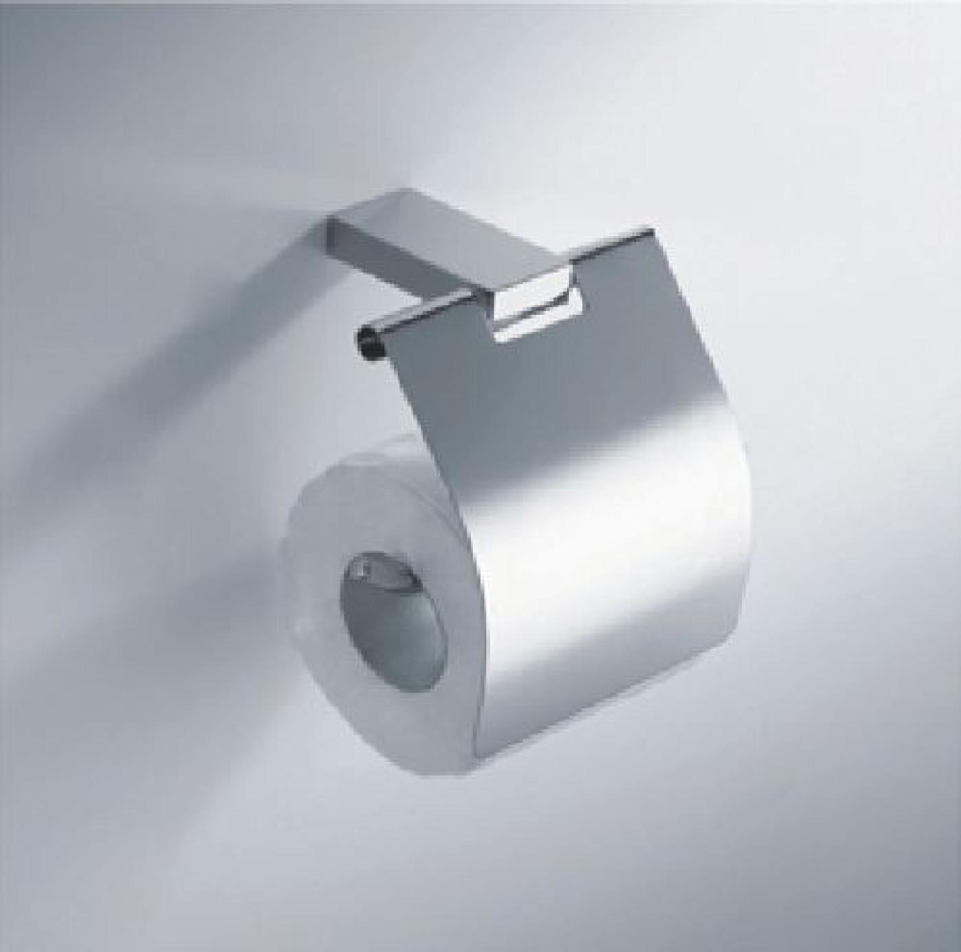 Wiesbaden Eris toiletrolhouder met klep chroom