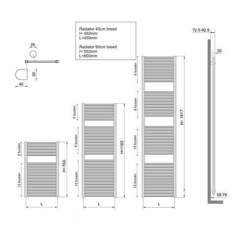 Wiesbaden Elara handdoekradiator 118,5 x 60 cm (H x L) mat zwart