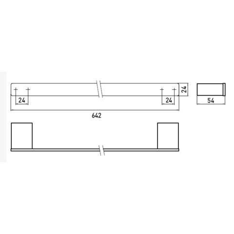 Emco Loft badhanddoekhouder 60 cm.. rvs