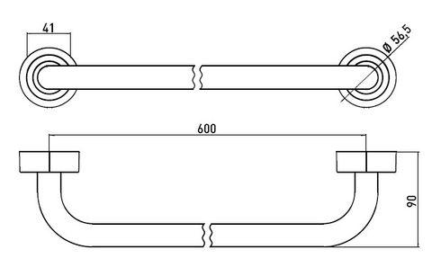 Emco Polo badhanddoekhouder 60 cm. chroom