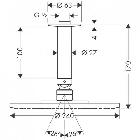 Hansgrohe Raindance S hoofddouche 24cm EcoSmart plafondbevestiging chroom