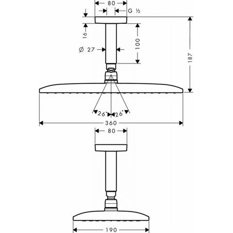 Hansgrohe Raindance E hoofddouche 360 1jet met plafondbevestiging chroom