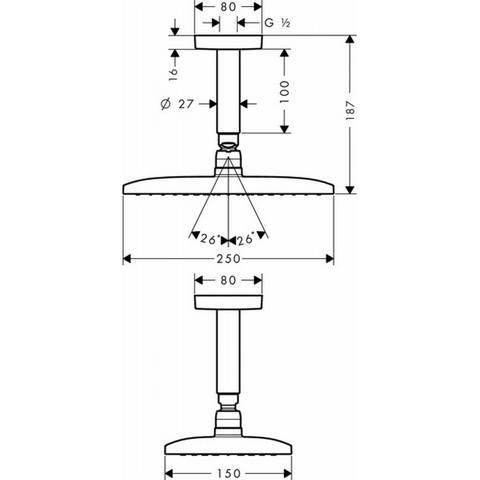 Hansgrohe Raindance E hoofddouche 240 1jet met plafondbevestiging chroom