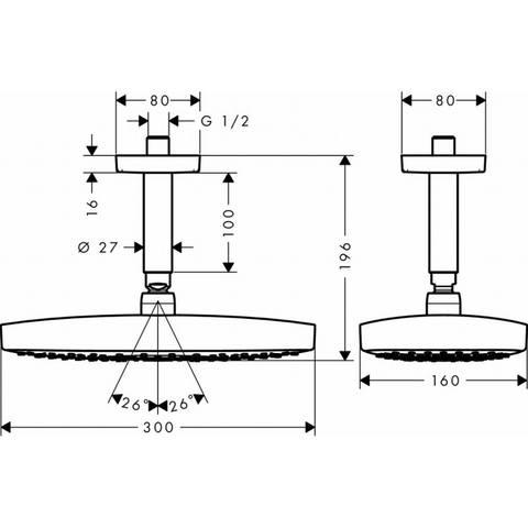 Hansgrohe Raindance Select E 300 2jet hoofddouche met plafondbuis chroom