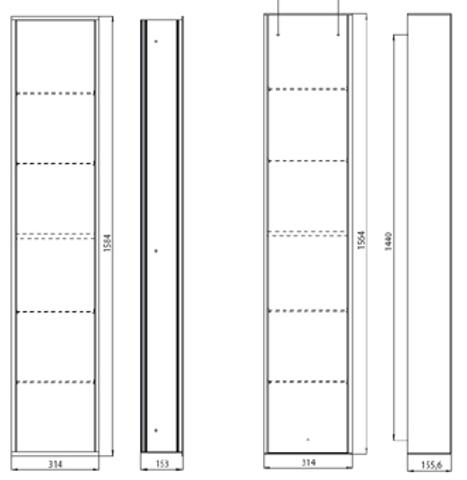 Emco Asis inbouw kast module 32 x 158 x 15 cm. chroom-glas zwart