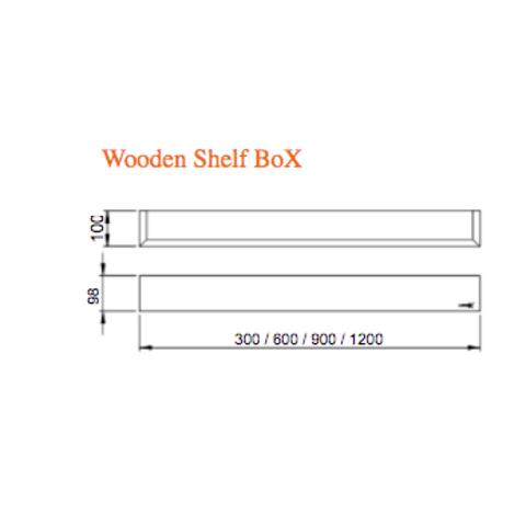 Looox Wooden Shelf BoX 120cm - met RVS bodemplaat