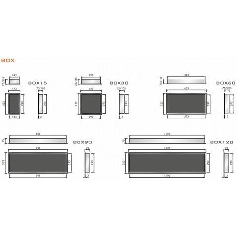 Looox Box inbouw nis 90x30cm - geborsteld RVS