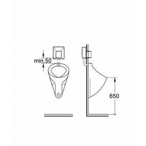 Grohe Rapido-u inbouw urinoir spoeler zonder afdekplaat