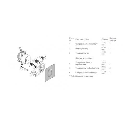 Grohe Rapido-t basisgarnituur voor inbouw thermostaat