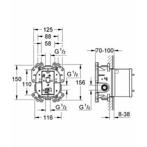 Grohe Rapido-e inbouw unit 1-greeps kraan