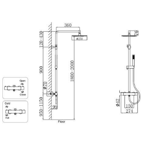 Regn thermostatische regendouche - chroom