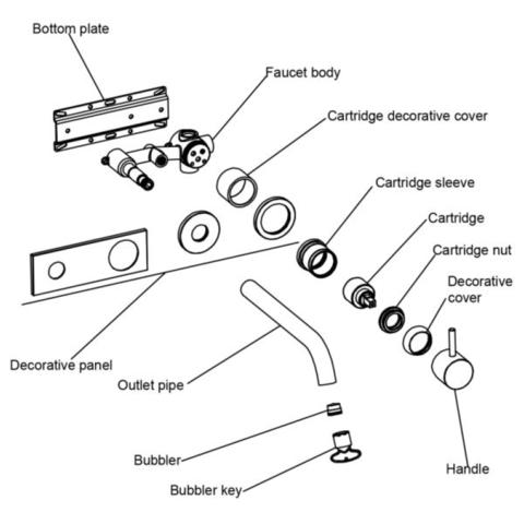 Regn 2-gats inbouw wastafelkraan met coldstart - geborsteld nikkel