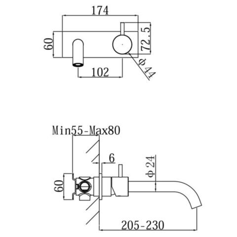 Regn 2-gats inbouw wastafelkraan met coldstart - gun metal black