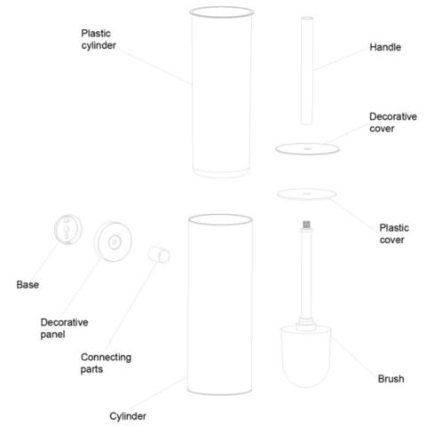 Regn toiletborstelgarnituur - chroom