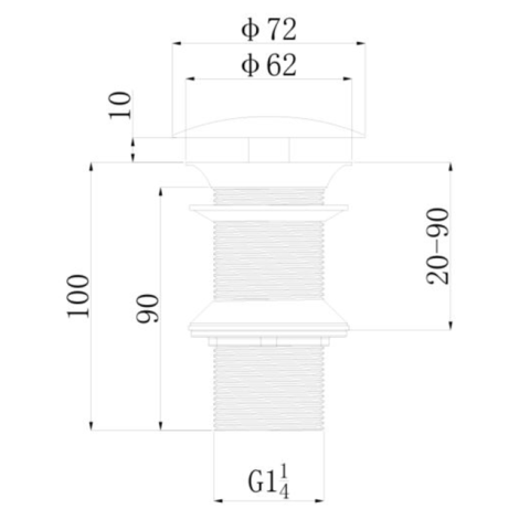 Regn vaste wastafelafvoerplug met lange schacht - mat zwart