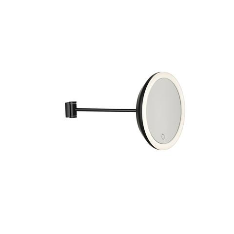 Zone Denmark wandspiegel - 5 x zoom/3 lichtstanden - zwart - metaal/spiegel - dia 18 x h34 cm