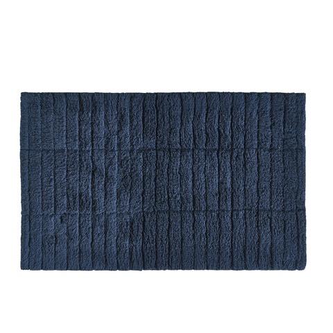 Zone Denmark badmat - tiles - donkerblauw - 100% katoen - 80 x 50 cm