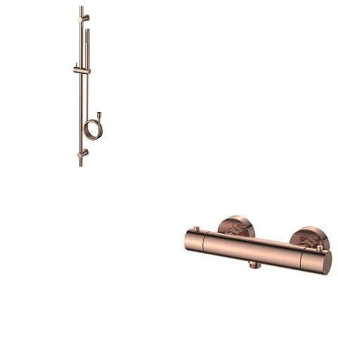 Regn glijstangset met thermostaat geborsteld rosé goud