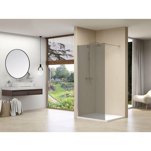 Van Rijn Products ST01MGR inloopdouche 120cm rookglas met wit beslag