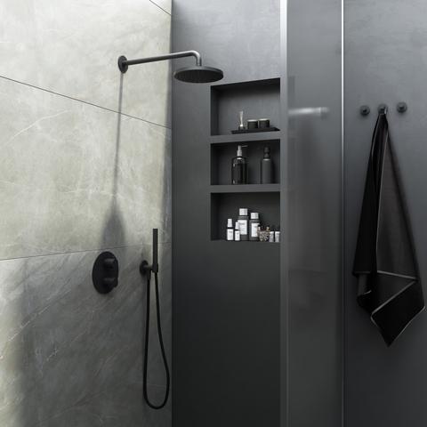 Hotbath Cobber IBS 20A inbouw doucheset - geborsteld messing - met staafhanddouche - 20cm hoofddouche - met wandarm - wandsteun met uitlaat