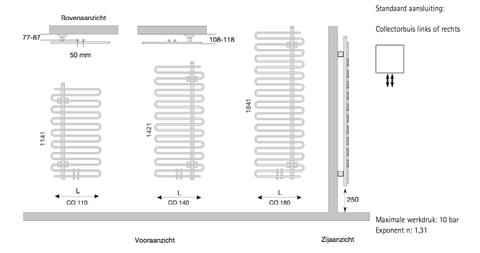 Instamat Cobra badkamerradiator 114.1 x 60 cm (H x L) collectorbuis links wit
