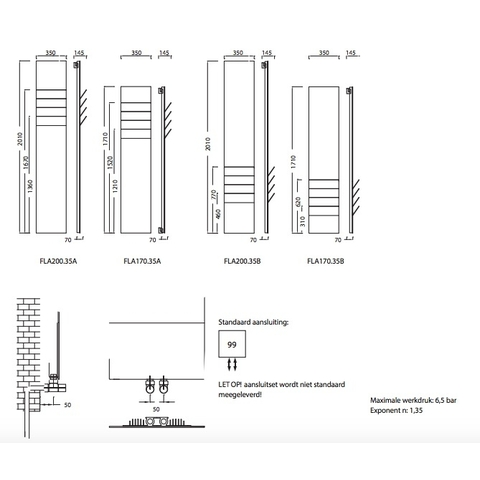 Instamat Flaps designradiator 171 x 35 cm (H x L) flaps onder wit