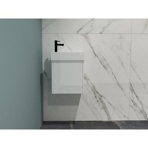 Bewonen Loft fonteinmeubel 40cm - keramiek kraangat links - onderkast glans wit