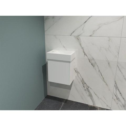 Bewonen Loft fonteinmeubel 40cm - keramiek kraangat links - onderkast mat wit