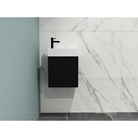 Bewonen Loft fonteinmeubel 40cm - keramiek kraangat links - onderkast mat zwart