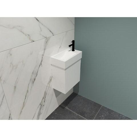 Bewonen Loft fonteinmeubel 40cm - keramiek kraangat rechts - onderkast glans wit