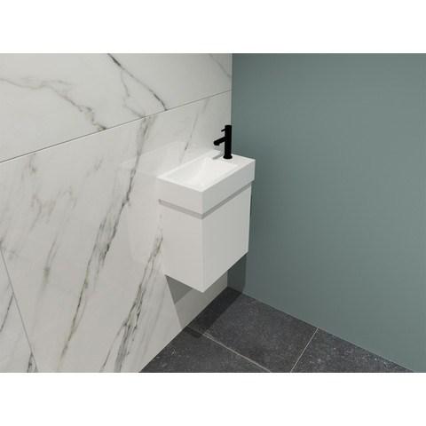 Bewonen Loft fonteinmeubel 40cm - keramiek kraangat rechts - onderkast mat wit