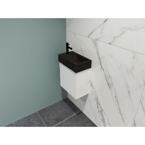 Proline Loft fonteinmeubel 40cm - hardsteen kraangat links - onderkast glans wit