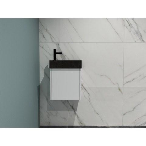 Bewonen Loft fonteinmeubel 40cm - hardsteen kraangat links - onderkast mat wit