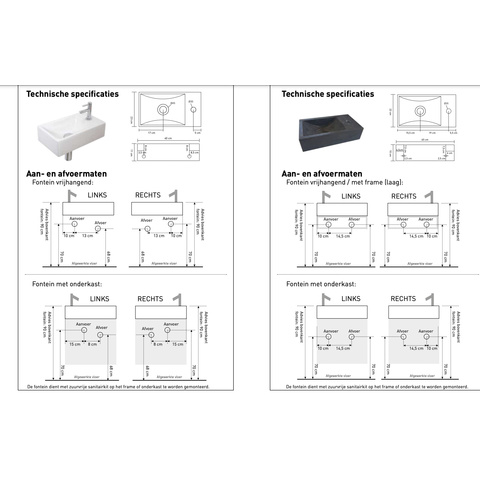 Bewonen Loft fonteinmeubel 40cm - hardsteen kraangat links - onderkast mat zwart