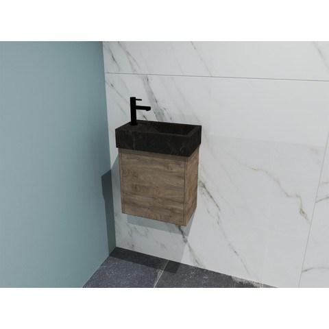 Bewonen Loft fonteinmeubel 40cm - hardsteen kraangat links - onderkast raw oak