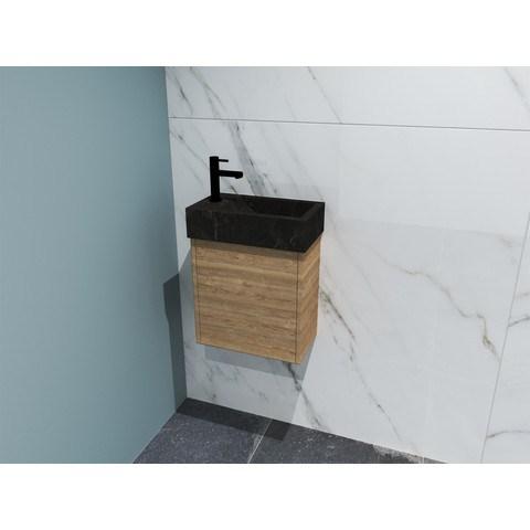 Bewonen Loft fonteinmeubel 40cm - hardsteen kraangat links - onderkast ideal oak