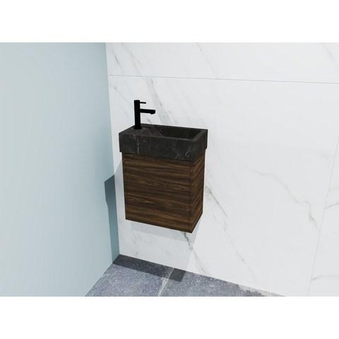 Bewonen Loft fonteinmeubel 40cm - hardsteen kraangat links - onderkast cabana oak