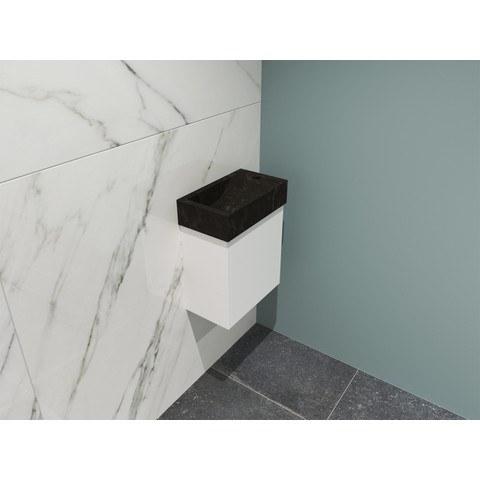 Bewonen Loft fonteinmeubel 40cm - hardsteen kraangat rechts - onderkast mat wit