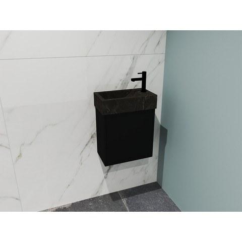Bewonen Loft fonteinmeubel 40cm - hardsteen kraangat rechts - onderkast mat zwart