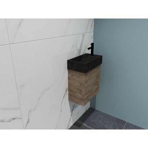Bewonen Loft fonteinmeubel 40cm - hardsteen kraangat rechts - onderkast raw oak