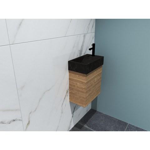 Bewonen Loft fonteinmeubel 40cm - hardsteen kraangat rechts - onderkast ideal oak