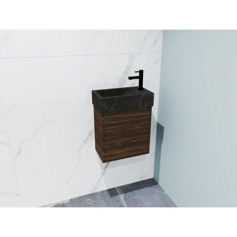 Bewonen Loft fonteinmeubel 40cm - hardsteen kraangat rechts - onderkast cabana oak