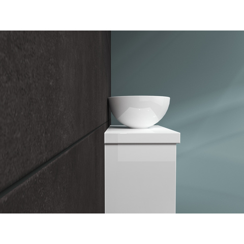 Bewonen Top fonteinmeubel 40cm - opzetkom keramiek - hoogglans wit