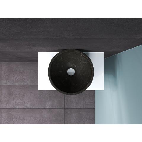 Bewonen Top fonteinmeubel 40cm - opzetkom hardsteen - mat wit