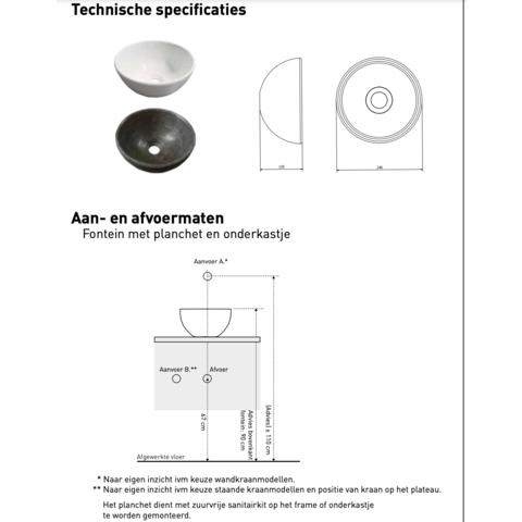 Bewonen Top fonteinmeubel 40cm - opzetkom hardsteen - mat zwart